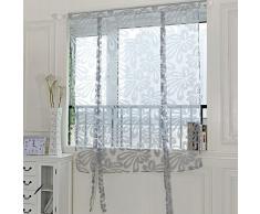 Kasitek Jacquard Floral Rideaux Décoration de Fenêtre Voilages Rideaux Courte Tulle Traitement de Fenêtre pour Porte Fenêtre Chambre Salon Cuisine