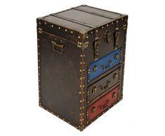 ts-ideen Coffre Commode Armoire Similicuir Design Vintage Antique Used Look Rivets Stockage 3 tiroirs et Compartiment à rabattre