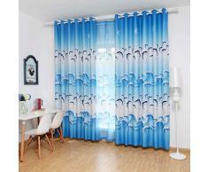Omkuwl Rideaux de fenêtre Panneau de rideau d'occultation de dauphin mignon pour le salon de chambre cour bleue avec le crochet 100 * 250cm