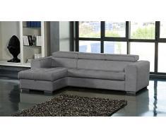 Canapé d'angle gauche SAMUEL convertible lit gigogne + méridienne coffre cuir gris
