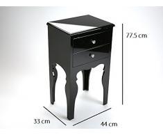 INSIDE LILI commode bois 2 tiroirs laque noire brillante