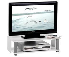 Meuble TV bas banc TV design KENO MDF décor blanc et gris