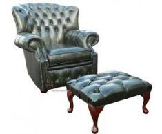 Chesterfield Fauteuil à oreilles BONZES haut dossier Vert Antique fauteuil fabriqué au Royaume-Uni