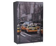 PEGANE Armoire penderie en Tissus Non tissé, Coloris Gris Motif Newyork - Dim : L105 x P45 x H158cm