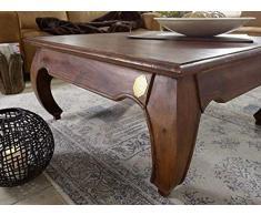 Table basse carrée 120x120cm - Bois massif d'acacia laqué - Inspiration Ethnique-Coloniale - OPIUM #624