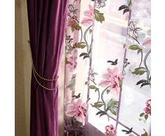 lzndeal 2pcs Rideaux de fenêtre voilage de Fleurs de Pivoine Décoration de Fenêtres de Balcon Salon Salle de bain Chambre Rideaux Décoration
