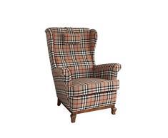 Sonorous Colchester Carreaux Marron oreilles et accoudoir, fauteuil, Polyester, 82 x 90 x 107 cm