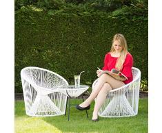 Relaxdays Table ronde basse appoint extérieur jardin balcon RAYA plateau verre design HxD: 46 x 55 cm, blanc