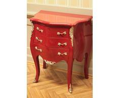 commode baroque, 3 tiroirs, peinte en rouge, poignées d'argent