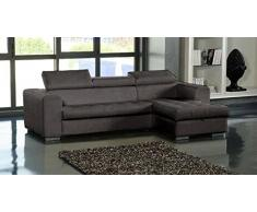 Canapé d'angle droit SAMUEL convertible lit gigogne + méridienne coffre similicuir marron