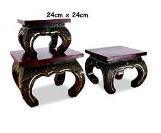 Livasia Table dopium, Table Basse | Table dappoint | Pierres de mosaïque en Bois et en Verre Décoration Asiatique Faite à la Main en Thaïlande (24x24cm)