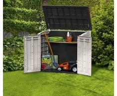 Chalet-Jardin 12-663865 Grand Coffre Multi-fonctions en PVC Beige/Marron 845 L 130 x 74 x 110 cm