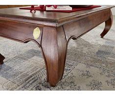 Table basse 135x70cm - Bois massif d'acacia laqué - Inspiration Ethnique-Coloniale - OPIUM #616