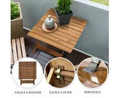 casa pura Table Pliante en Bois - Table d'appoint pour Terrasse, Balcon, Jardin | Table Basse en Bois d'Acacia huilé résistant aux intempéries | 50x50x50 cm