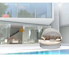luxurygarden – Canapé de jardin rond en rotin Chaise longue Alia Blanc ameublement de piscine de jardin terrasse ameublement pour extérieur