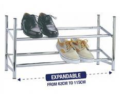 Extensible - 2 niveaux-Étagère à chaussures empilables de rangement en métal chromé