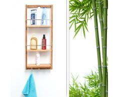Relaxdays 10017163 Étagère de salle de bain en Bambou 3 étages panier Mural HxlxP : 70 x 28,5 x 10 cm serviteur de douche à suspendre crochet porte-serviettes torchons étagère de cuisine en bois, Beige