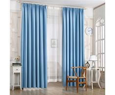 Rideaux Salon Design Moderne Kolylong Blocage de la lumière Rideaux Chambre Blackout Occultants 210x100cm (Bleu)