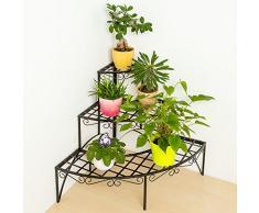TecTake Etagère de jardin pour plantes escalier en fer 3 niveaux env. 60x60x60cm - charge max: env. 30 kg