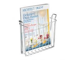 iDesign porte revue à fixer au mur, petit porte magazine mural en métal pour revues, journaux ou magazines, range magazine pour la salle de bain, argenté