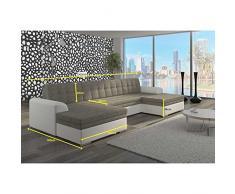 JUSThome Vento Canapé d'angle panoramique sofa ensemble de salon Tissu structuré Cuir écologique (lxLxH): 165x365x81 cm Noir Rouge