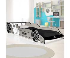 Deuba Lit Enfant Voiture Formule 1 F1 Gris - 90 cm x 200 cm - Sommier Inclus - Chambre