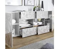 NOUVOMEUBLE Enfilade Design 2 Portes 4 tiroirs Blanc laqué Paolo