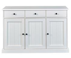 PEGANE Enfilade 3 Portes 3 tiroirs en Bois Massif laqué Blanc - Dim : L131 x H86 x P45 cm