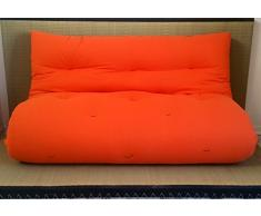 Canapé futon Lit futon Double Face Base tatamis Couleurs Rouge/Orange Taille 140 x 200 cm