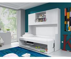 Lit combiné escamotable 90x200 avec espace de bureau amovible et rangements supplémentaires
