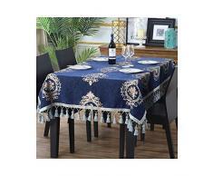 MWPO Nappe élégante et Romantique adaptée aux Tables de Buffet, fêtes, dîners, Mariages, hôtels, etc. pendante Oreille Bleu Marine (Taille: 110cm * 170cm)