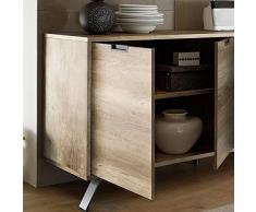 Kasalinea Enfilade 2 Portes 3 tiroirs Moderne Couleur chêne Plume 2