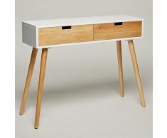 Console en bois-blanc - 100 x 30 x 80 cm-panneau d'appoint commode buffet moderne au design style scandinave