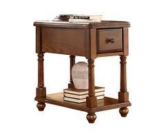 BAOMEI Table 2 couches de stockage Table, Enfilade tiroirs, Meuble TV en bois massif, Téléphone table 56cm * 40cm * 58cm Durable