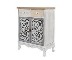elbmöbel Commode en Bois Style Baroque avec tiroir Blanc Ancien 89 cm