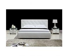 JUSThome Ostia Blanc Lit rembourré en cuir écologique Taille : 160 x 200 cm
