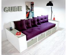 Canapé Cubes Blanc Tiroirs Gris avec futon et coussins Prune