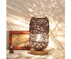 Moouk Rotin Table Lampe avec Tissu Abat-Jour & Bois Solide, Chevet Lampe Bureau, USB Alimenté Table de Chevet Lampe, Romantique Veilleuse pour Chambre, Commode, Salle à Manger, Chambre de Bébé, Bureau