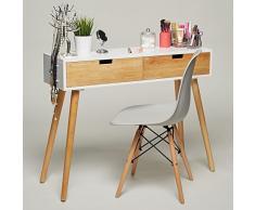 Console table d'appoint en bois blanc 100 x 30 x 80 cm, poitrine de tiroirs Buffet design scandinave moderne Look rétro