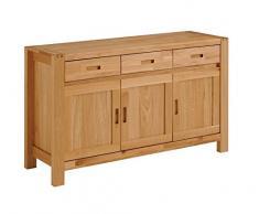 Keo Ethan SEJOUR Buffet Enfilade 3 Portes/3 tiroirs, Chêne, 139 x 44 x 85 cm