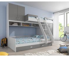 Lit combiné superposé multi couchage 90x200 avec rangements coloris blanc et gris