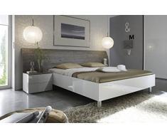 Matelpro-Lit adulte design blanc laqué/gris Stevia-160 x 200 cm