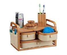 Relaxdays Commode Mini Bambou, 3 Casiers, Petite Étagère Sdb, Tissu, Organiseur Cosmétiques, Rustique 19X34X23 cm, Nature