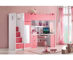 Lit combiné mezzanine coloris rose et blanc
