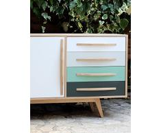 bahut enfilade style scandinave 2 portes coulissantes 4 tiroirs