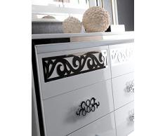 Commode blanc laqué et argenté ultra design avec miroir mural