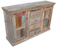 Guru-Shop Commode Antique en Bois de Teck Avec des Temples Dimpression de Bloc, 97x150x43 cm, Commodes