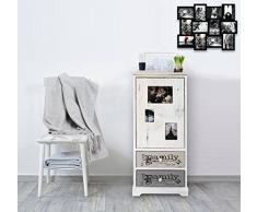 Rebecca Mobili RE4480 Armoire Gain de Place avec Cadre Photo, Commode avec 1 Porte 2 tiroirs, Bois Paulownia, Style Vintage, pour Chambre, 89 x 40 x 29 cm