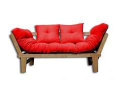 Canapé-lit Sésamo, Naturel, Futon Rouge, 200x82x32 cm