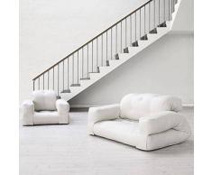 MDS HIPPO, un fauteuil et aussi un sofa, hyper malins qui se transforment en un confortable lit futon d'appoint en quelques secondes - FAUTEUIL HIPPO (taille adulte), Aspect lin/Bouton Gris